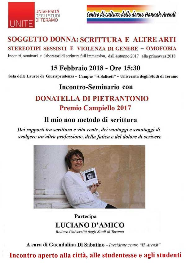 Donatella Di Pietrantonio all'Università di Teramo