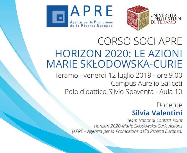 UniTE Seminario APRE Bandi programma Horizon 2020 MSCA - Le azioni Marie Skolodowska-Curie