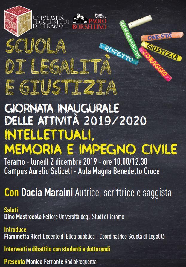 """Giornata inaugurale delle attività 2019/2020 """"Intellettuali, memoria e impegno civile"""" a UniTE"""
