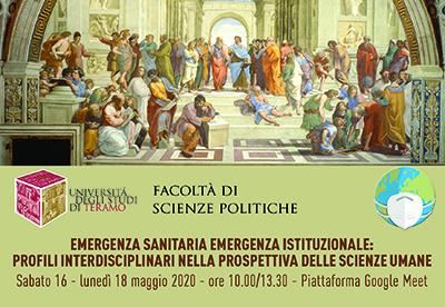 """Webinar: """"Emergenza sanitaria, emergenza umana. Profili interdisciplinari nelle scienze umane"""""""