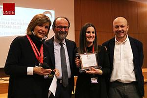 Da sinistra la coordinatrice del Dottorato di ricerca Barbara Barboni, il rettore Dino Mastrocola, la vincitrice del Premio Marina Ramal-Sanchez, il presidente di Amnesty Antonio Marchesi