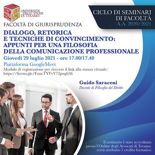 """Quinto appuntamento del ciclo di seminari di Giurisprudenza su """"Dialogo, retorica e tecniche di convincimento"""""""