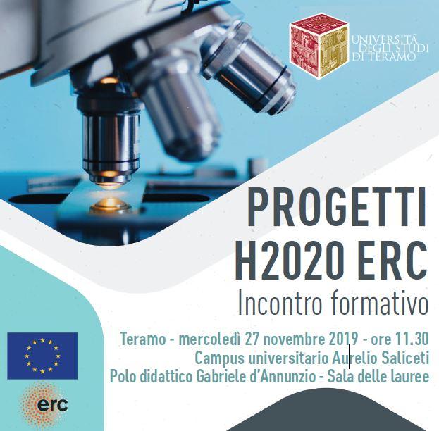 Progetti H2020 ERC: incontro formativo Università di Teramo