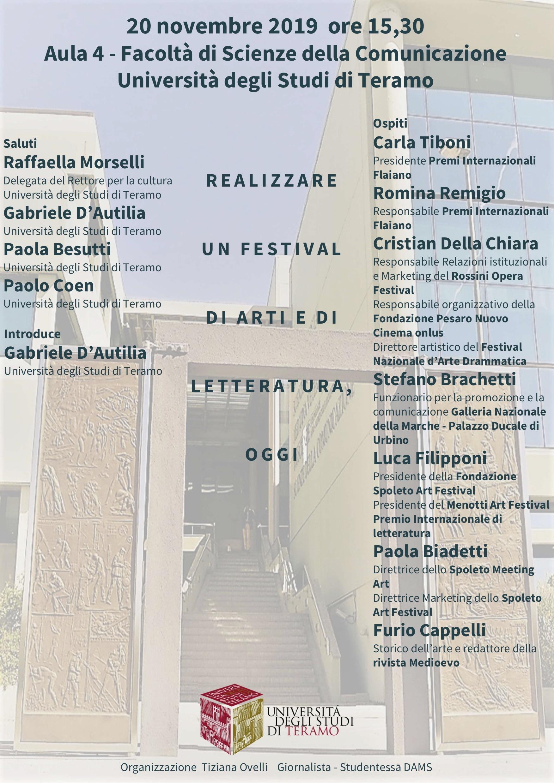 """Seminario di studi: """"Realizzare un festival di arti e di letteratura, oggi"""""""