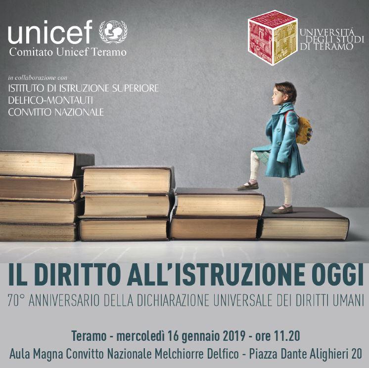 Unicef e UniTe in un convegno sul diritto all'istruzione