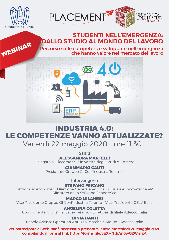 Webinar Placement: Industria 4.0: le competenze vanno attualizzate?