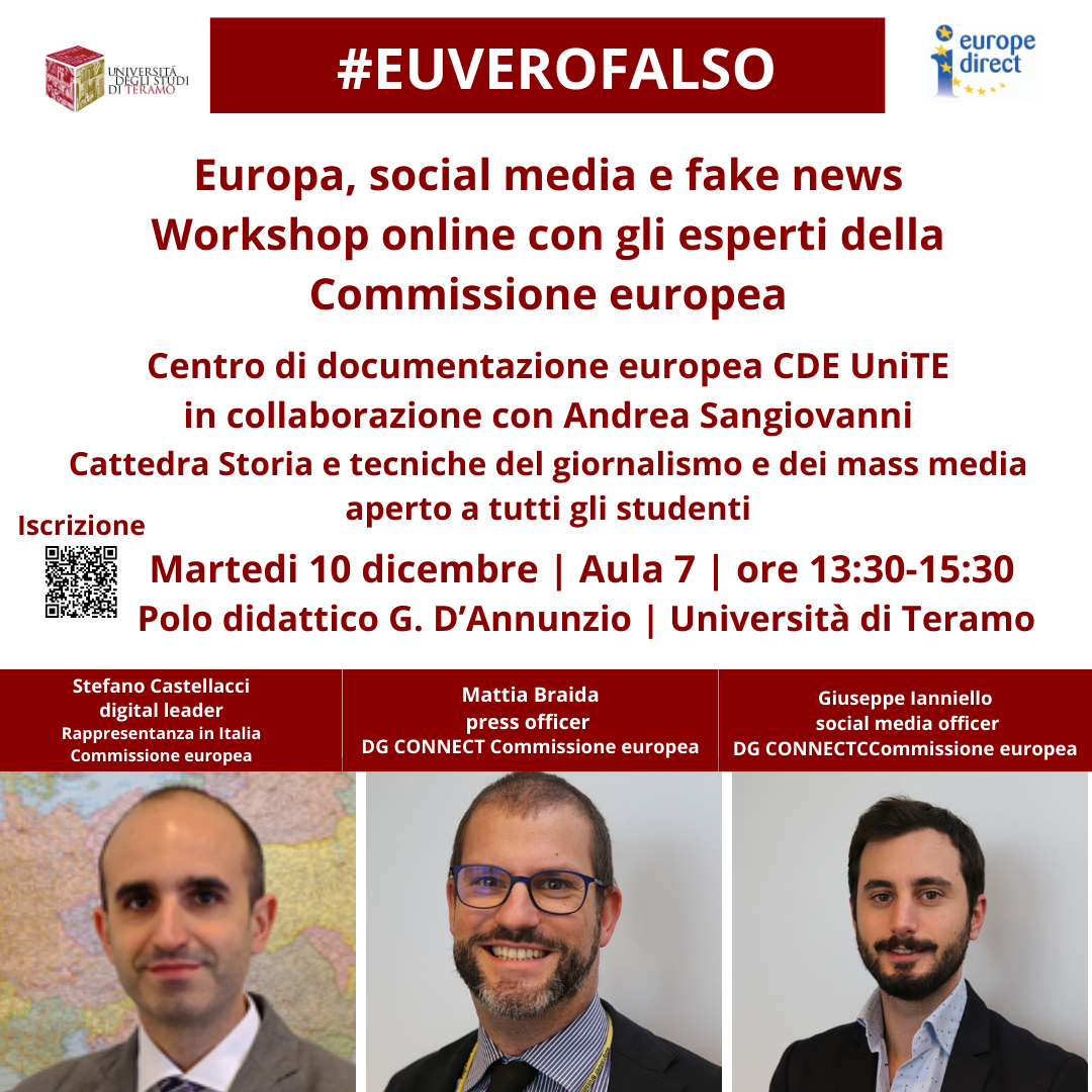 Workshop online con gli esperti della Commissione europea: Europa, social media e fake news