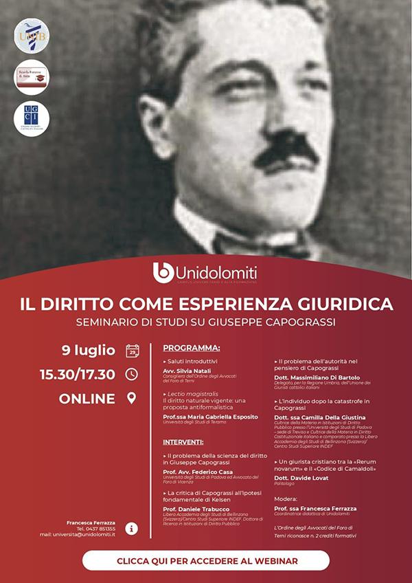 Il diritto come esperienza giuridica. Seminario di studi su Giuseppe Capograssi