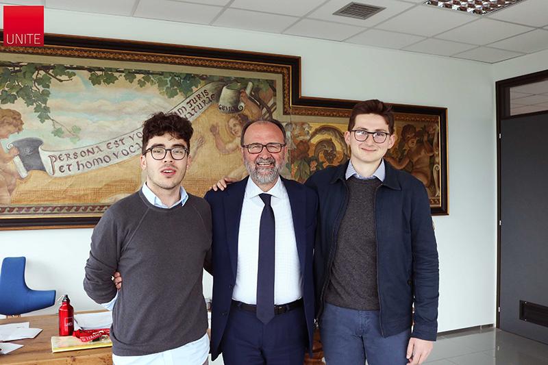 Da Sx a Dx; Paolo Pratense (Presidente Consiglio degli studenti UniTe), Dino Mastrocola (Rettore UniTe) e Jacopo Trivelli (Presidente Consulta provinciale studenti Teramo)
