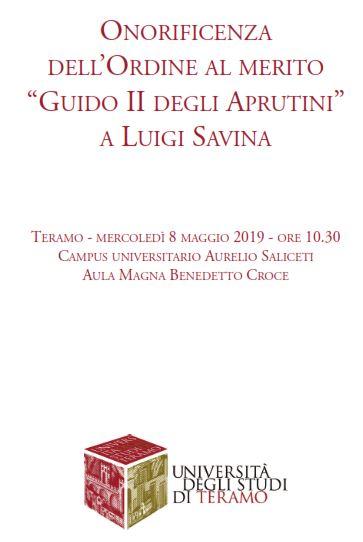 """Onorificenza dell'ordine al merito """"Guido II degli Aprutini"""" a Luigi Savina"""